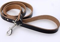 Black or Brown 100% Genuine Leather Dog Leash Great Walking Lead M L Small 48""