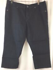 D Jeans Dark Wash Capri Rhinestone Rear pockets Low Rise Size 12 BA51