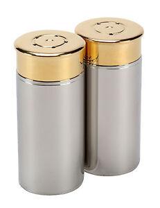 Shotgun cartridge salt & pepper set in stainless steel 8cm x 3.5cm game shooting