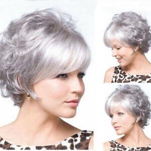 Ladies Wig Women Wig Short Hair Silver Gray Curly Wig+Wig Cap