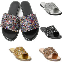 LAVRA Womens Glitter Bling Fancy Slide Flat Low Wedge Sandals Shoes Dream