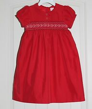 Toddler Girls Osh Kosh Red & Pink Sweet Smocked Dress Fully Lined Church size 4T