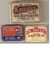 SET OF 3 1930's OLD COLD REMEDY TINS FIXACO, ST. MARY'S AND SPARTIN ASPIRIN