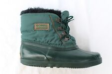 Vtg Sorel Kaufman Canada Duck Boots Rain Snow Lace Up Liner Ankle Womens 7 Green