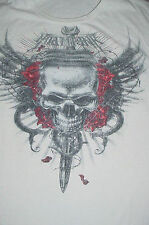 Mens-Miami Ink White Tattoo Scull Wings Roses T shirt-XXL-2XL