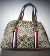 Tommy Hilfiger Brown Tan Tote Satchel Handbag  Signature Navy White Red NWT $98