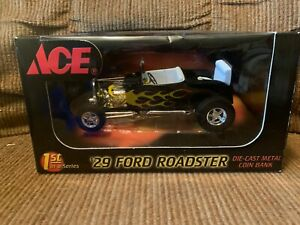 1929 Ford Roadster-Ace Hardware-1st in Series-Die Cast Metal Coin Bank-NIB