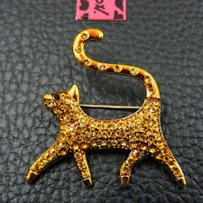 Women Betsey Johnson Charm Brooch Pin New Gold Crystal Bling Cat Kitten Animal