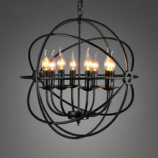 E14 8head LED Pendant Light Antique Rust Industrial Retro Copper chandelier 52cm