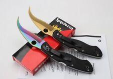 New Colored Spyderco C12GS Messer voll gezahnt G-10 Falten Linerlock Messer