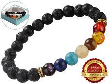 7 Chakra Healing Bead Natural Lava Stone Diffuser Multi Colour Gemstone Bracelet