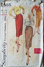 50s High Waist Slim Skirt Simplicity 2655 Vtg Sewing Pattern W 28