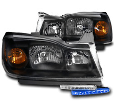 For 2006 2007 Saturn Vue Factory Style Black Headlight Lamp +Blue Led Signal Drl