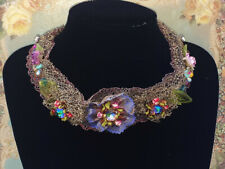Michal Negrin Crystal Flower Beads Lace Choker Necklace Floral New Vintage Style