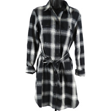 Universal Thread Black & White Plaid Button Up Belted Dress Women's Size XS