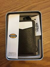 Fossil Mens Lincoln Magnetic Money Clip Card Case Brown Leather Wallet NWT
