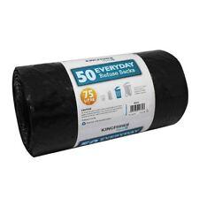 Kingfisher 50 Heavy Duty Dustbin Refuse Sacks Bin Liners Bag - Black, 75 Liters