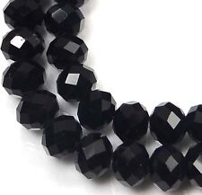 6x4mm Black Glass Onyx Faceted Rondelle Beads (50)