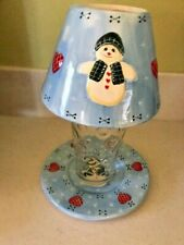 Jar Candle Shade Topper & Plate - Light Blue With Snowman Design