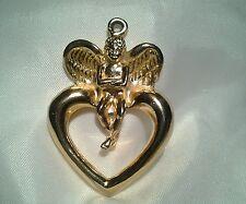 Vintage Estate Haute Couture Gold Givenchy Cherub Angel Necklace Pendant
