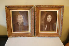 Pair of Vintage Man & Woman Sepia Colored Prints Framed Behind Glass