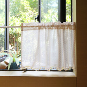Half Curtain Lace White Short Curtain For Kitchen Cafe Cabinet Door Small Window