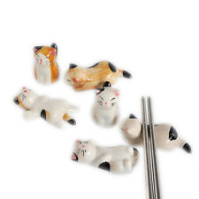 3Pcs Chopstick Holder Lucky Cat Money Attraction Japanese Bell Porcelain Ceramic
