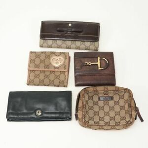 Gucci Dior GG Canvas Lot of 5 Leather Wallet Pouch Used Authentic 82916-23