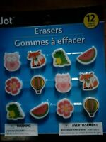 12 Pack Of Jot Pencil Erasers Cute