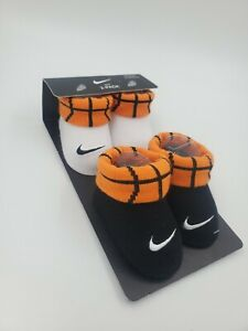2 Pair Nike Baby Boys Booties, Size 0-6 Months, Basketball, Shower Gift, B3