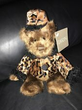 Vintage NWT Dakin Chelsea Bear In Cheetah Print Coat