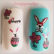 Nail Art 3D  Decals/ Easter Eggs, Easter Bunnies, Happy, Flowers #181