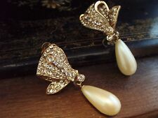 Vintage Crystal Encrusted & Pearl Drop Gold Plated Large Clip-On Earrings