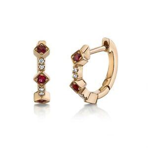 Ruby Diamond Huggies Earrings 14K Rose Gold Diagonal Hoops Round Cut Natural