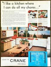 1952 Crane Plumbing Fixtures Print Ad Kitchen Queen Sink Launderette Tubs Etc