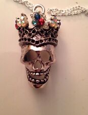 Swarovski Vintage Gemstones Day of the Dead Skull Crown Necklace