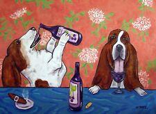 Basset hound at the winebar  dog art print 11x14