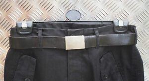 """Genuine German Army Black Leather Belt Brass Buckle Size: All Sizes Up To 42"""""""
