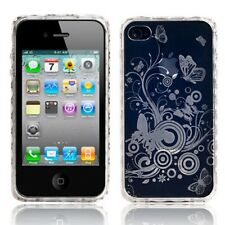 CLEAR GEL BUTTERFLY BACK SKIN COVER CASE FOR APPLE IPHONE 4 4G 4S UK  TPU