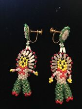 Vintage Beaded Native American Indian Chief Screw Back Earrings