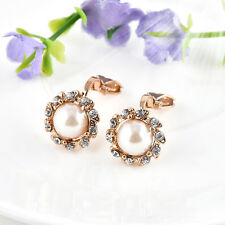 Gorgeous Charm Pearl & Rhinestone Crystal Round Stud Gold Clip On Earrings