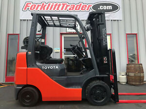2014 TOYOTA 8FGCU25 5000LB CUSHION TIRE FORKLIFT WITH SIDE SHIFT