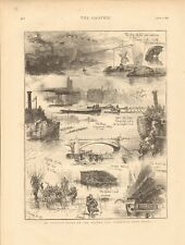 1873 ANTIQUE PRINT- AT THE OXFORD AND CAMBRIDGE BOAT RACE