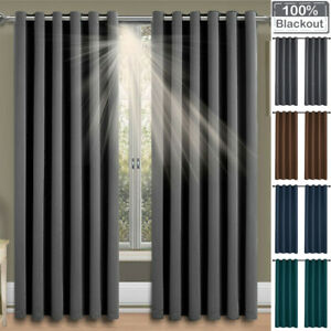 Thick Thermal Blackout Ready Made Eyelet Ring Top Curtains 1 Panel Drape Bedroom