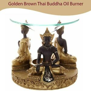 Golden Brown Thai Buddha Oil Burner Candles Tarts Warmer Wax Melts Granules New