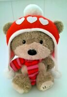"Card Factory Hugs Teddy Bear Plush Red Scarf Hat Pompoms 12"" Soft Stuffed Toy"