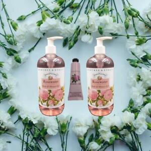 CRABTREE & EVELYN 3 Piece Rosewater Bath & Shower Gel Set + Hand Cream 2 x 500ml