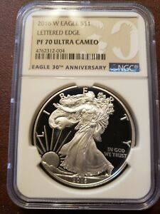 2016-W Proof Silver Eagle, NGC PF70 Ultra Cameo, Lettered Edge, 30th Anniversary