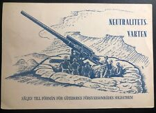 1940s Sweden Picture Postcard Cover Faltpost Military Stamp Label Neutral Guard