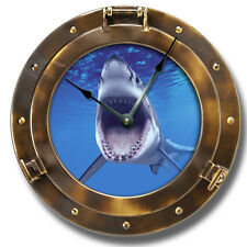 """10.5"""" Whale Shark Copper Porthole Wall Clock - Underwater Home Wall Decor - 7141"""